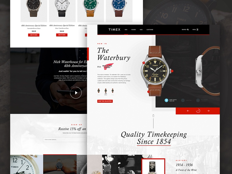 Timex Group USA | Homepage Concept web design parallax slider e-commerce timex watch watches landing page ux ui homepage website design