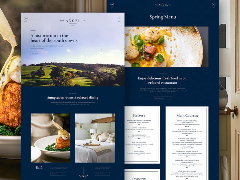 The Angel Inn | Website 2018 home hotel inn header typography website design web design homepage website restaurant