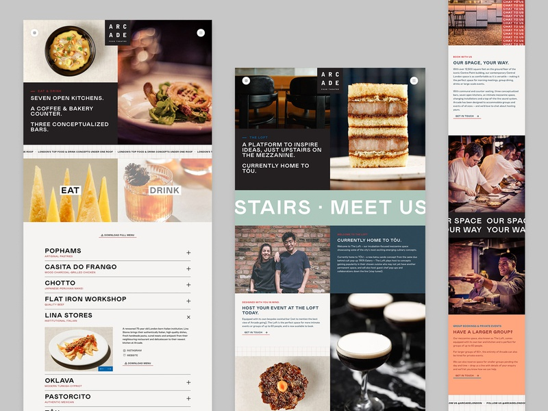 Arcade London | Detail Pages homepage header ui ux web design restaurant arcade london modular blocks website design webdesign website responsive about page detail pages