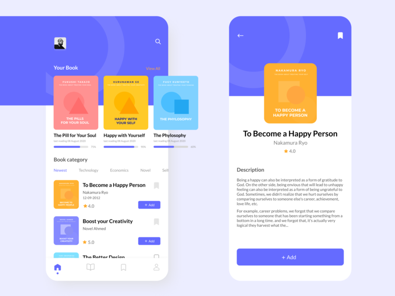 Book Reader Mobile Application logo purple clean ux ui minimalist read illustration mobile app book
