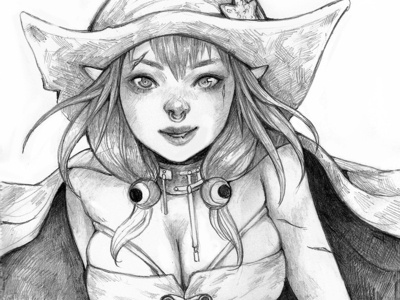 Vampirate Witch Fa magical freehand drawing semi realism pencil art fantasy art mangaart drawing pencil drawing pencilart illustration art anime manga pirate witch vampire