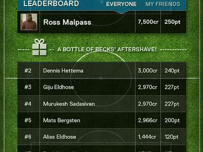 Match Becks ios app ui mobile football grey grass texture