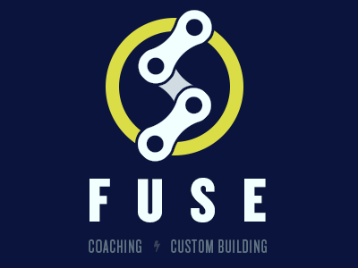 Fuse Cycling branding yellow knockout typography logo