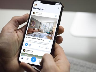 Social Application dribbble design flat iphone ios clean application app blue modern