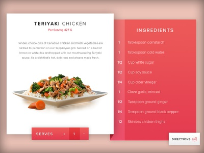 Recipe view modern flat red view meal recipe