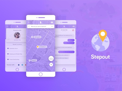 Travel GPS Application map comissioned gradient yellow purple modern design application gps travel