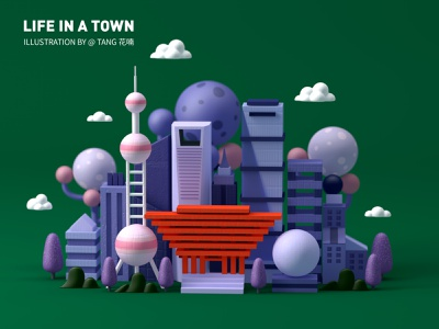 life in a town building illustration shanghai city c4d