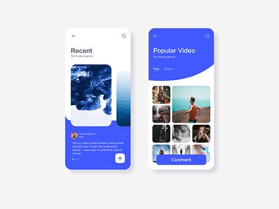 Vlog app🏞 blue app ui branding design