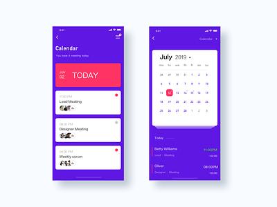 Calendar year month day card 2019 calendar design ui