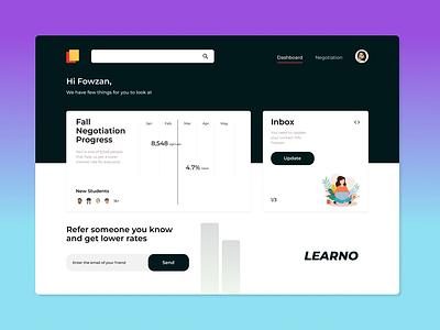 LEARNO - Educational Platform Dashboard website art dashboard app web dashboad uiuxdesigner uiuxdesign uiux interaction webdesign uxdesign uxui interface typography app uidesign figma ux ui design