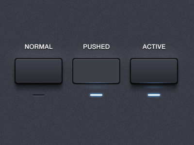 Button States button interface states ui normal pushed active led glow reflect