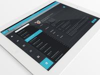 Flat iPad Tablet App & Dashboard - Contacts Screen