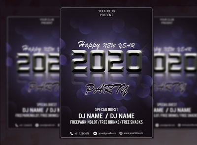 2020 New Year Party Flyer PSD Template