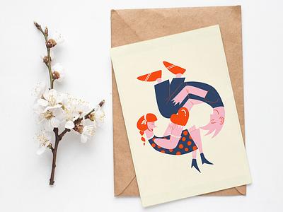 Valentines Day card design drawing wacom wacom intuos photoshop character design digital art illustration art minimalist 2020 valentinesday love card postcard design illustration illustrator
