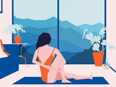 Inner Peace yoga furniture interior landscape editorial orange blue flatart stayhome home character design illustrator drawing woman adobe illustrator digital art digital design vector illustration