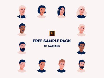 Free Sample Pack of Avatars illustrations set ui faces hair heads freebie free pack avatars women men branding character design adobe illustrator portrait digital design vector