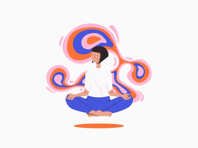 Quarantine Stories Series | Meditation & Rest calm abstract shapes girl bold colors peaceful mindfulness ui design yoga pose yoga meditation color illustration woman drawing character design digital art portrait digital vector design illustration
