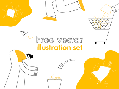 Free vector illustration set | Onboarding themes pack onboarding onboarding illustration 404 message gift payment e commerce shopping action figures digital branding character design web illustration ui product kit set vector design illustration