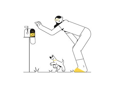 You've got a message! doggy outline freelance appdesign webdesign onboarding ui message outlines lines flatdesign uiillustration ui woman illustrator character design adobe illustrator digital vector design illustration