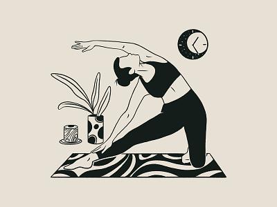 Yoga Alphabet | Gate Pose body clock pattern activity plants yoga pose doodles procreate mindful healthcare yogaapp yoga product product illustration ui digital art drawing digital illustration