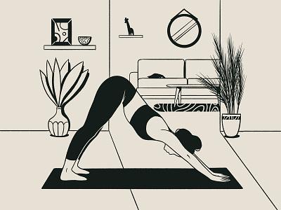 Yoga Alphabet | Downward-Facing Dog minimal lines lineart blackandwhite light room furniture plants interior healthylife yoga app yoga pose app product illustration product ui drawing digital illustration