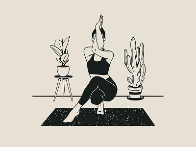 Yoga Alphabet | Eagle Pose procreate healthcare product illustration plant minimalism yogaposes yoga product yogaapp art illustrator ui drawing portrait digital design illustration activity body
