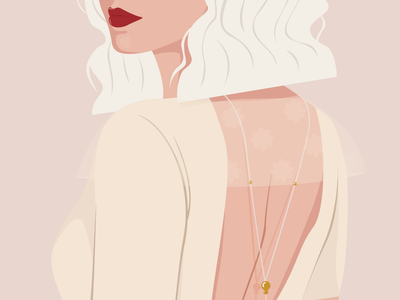 Woman in white mysterious back hair beauty lips jewelry necklace dress wedding color illustration character design skin illustrator drawing woman portrait design vector digital illustration