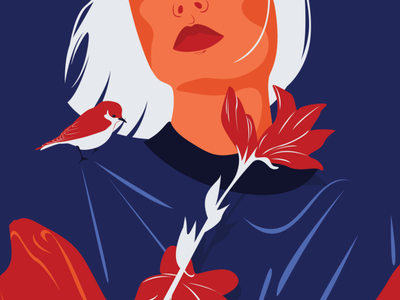 Our Planet Week challenge (1/5) climatechange nature plant florals animals red classicblue blue vector art color illustration illustrator drawing adobe illustrator woman design digital portrait vector character design illustration