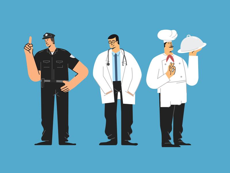 Police, Doctor and Chef Illustration chef character doctor character police chraracter character design illustration