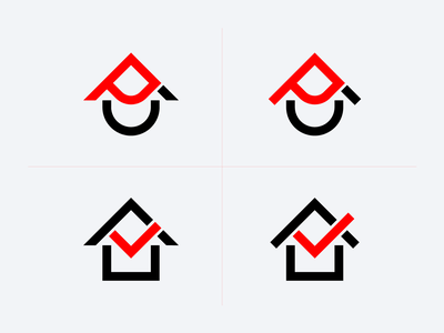 UP+House letter tick geometry illustration design branding logo arrow up house logo house