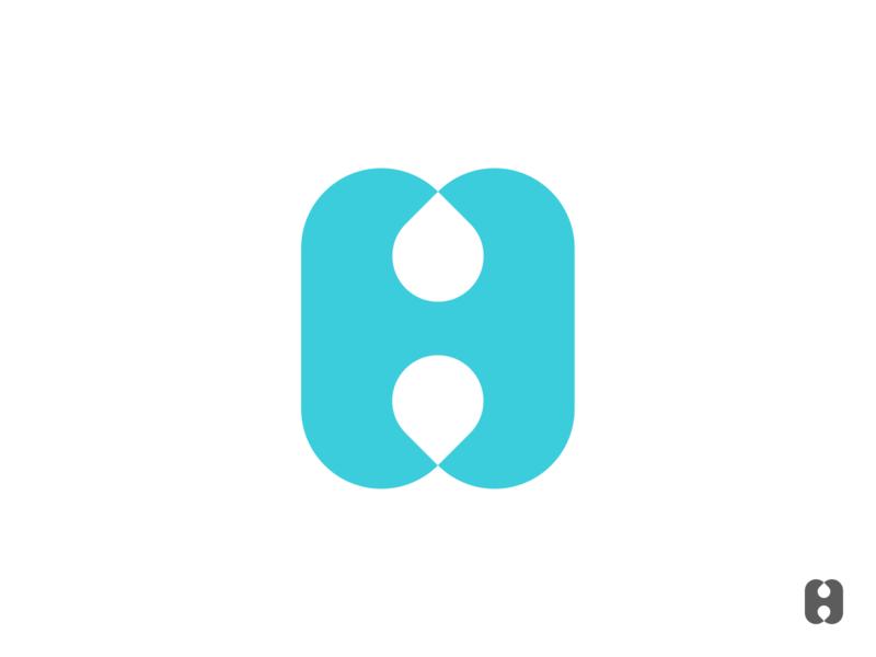 H₂O letter illustration design branding logo