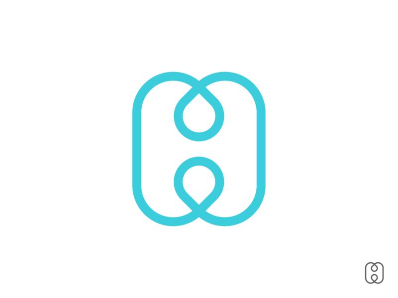 H₂O water drop h letter illustration design branding logo