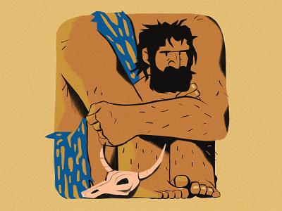 Caveman beard grumpy angry boxed square ape skull neanderthal character procreate illustration