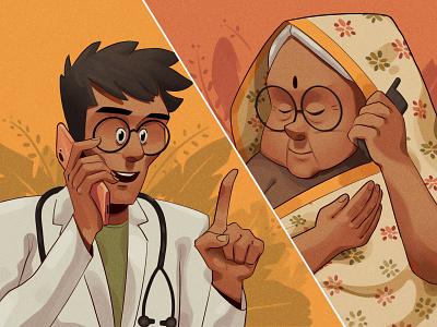 Telemedicine photoshop medicine sick covid covid-19 bangalore online helpline smartphone chennai saree telemedicine doctor indian character procreate illustration