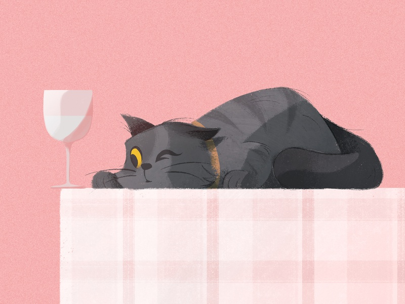 One more push table pink glass cat character procreate illustration