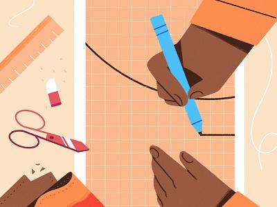 Craftsmanship pencil measure scissors chennai tailor character procreate illustration