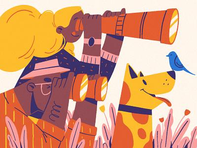 Bird Watching couple telescope binoculars bird dog character procreate illustration