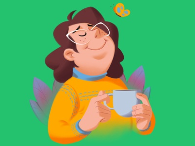 Zen character illustraion india chennai tea happy relaxed calm peace plants butterfly coffee
