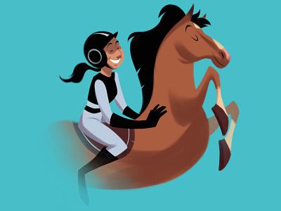 Agile ride horse riding race horse horse racing woman illustration
