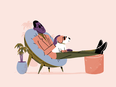 Relax fashion modern style sunglasses stretch plant sofa