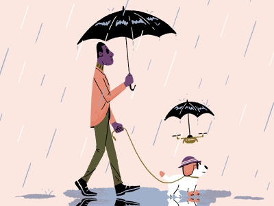 Rain water sunglasses hat dog drone walk puddle