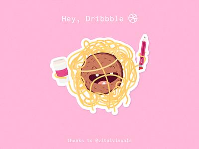 Hey Dribbble! pastafarian debut shot debutshot firstshot pastafarianism meatball illustration fsm flying spaghetti monster