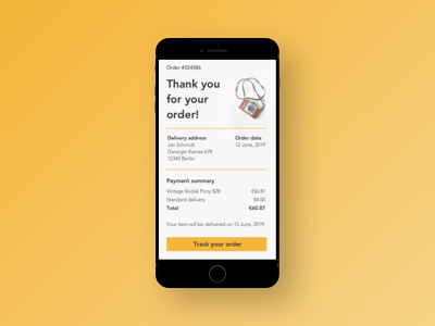 Daily UI #017 ecommerce email receipt email webdesign appdesign ux dailyuichallenge uidesign design dailyui ui