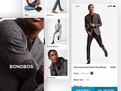 Bonobos Native App UI mens fashion native app ux ui fashion