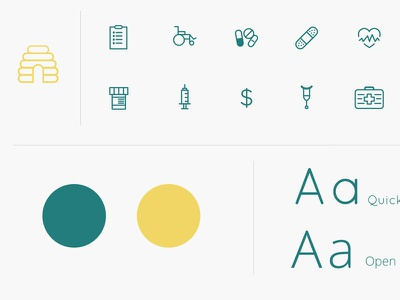 Eobee Brandscape teal yellow beehive medical monoline fonts colors clean icons