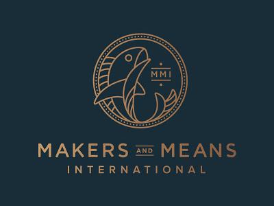 Makers & Means Logo churches pastors mmi international ministry non profit makers coin fish logo monoline flat