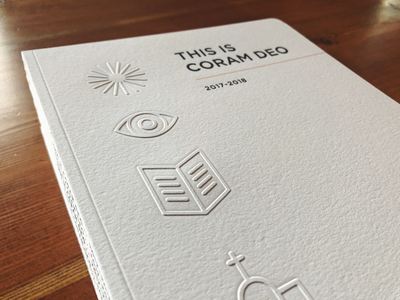 Coram Deo Annual Report icons coram deo omaha church annual report embossing letterpress print