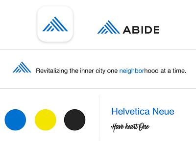 ABIDE Brandscape helvetica sports abide omaha non profit clean modern urban yellow blue logo