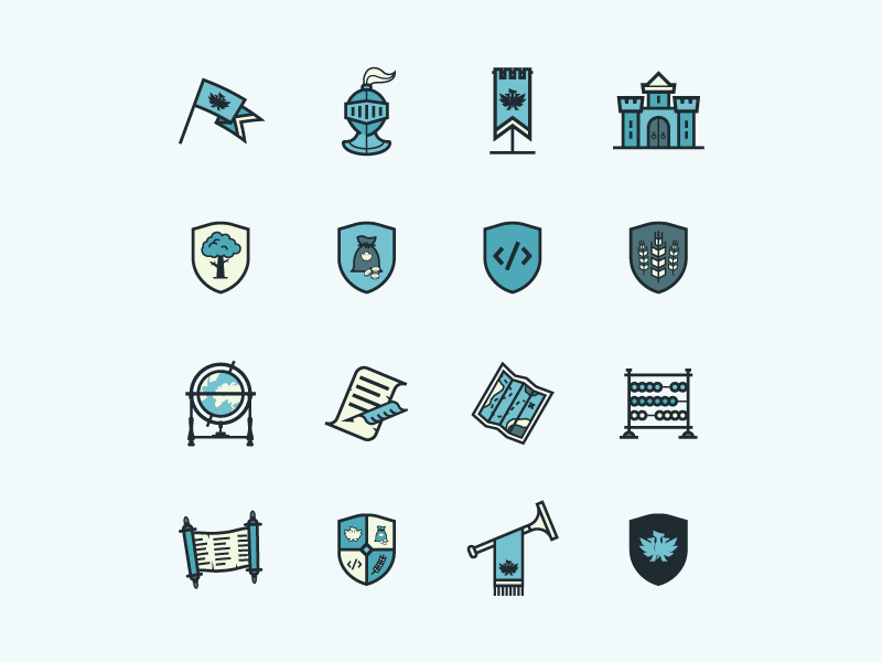 Improved & Extended Iconset flag banner knight castle heraldry icon abacus trumpet quill hydra medieval