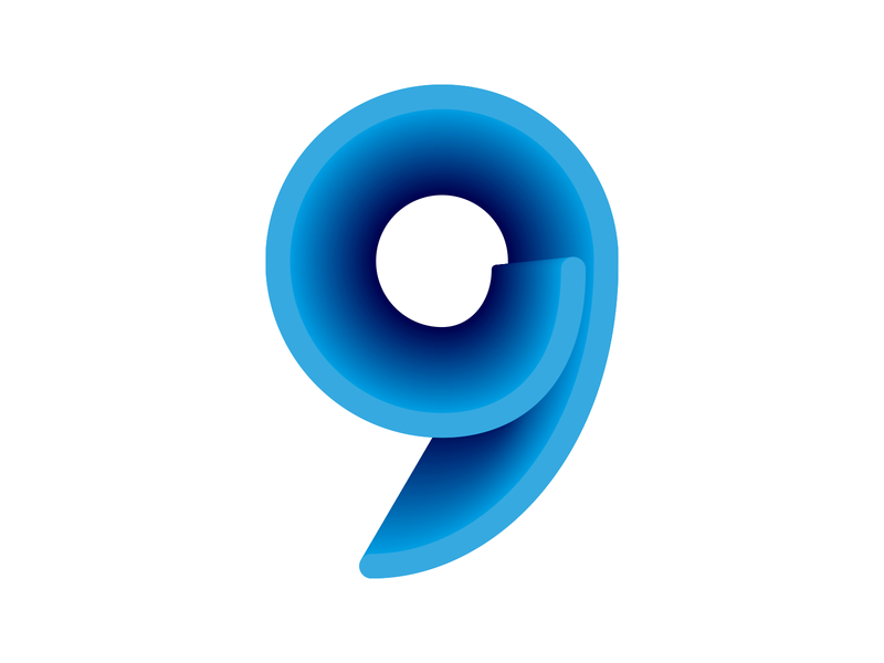 9 Logo comma hole tunnel tie loop wave roll depth shading blue perspective logo 3d icon numeral number 9 branding logo